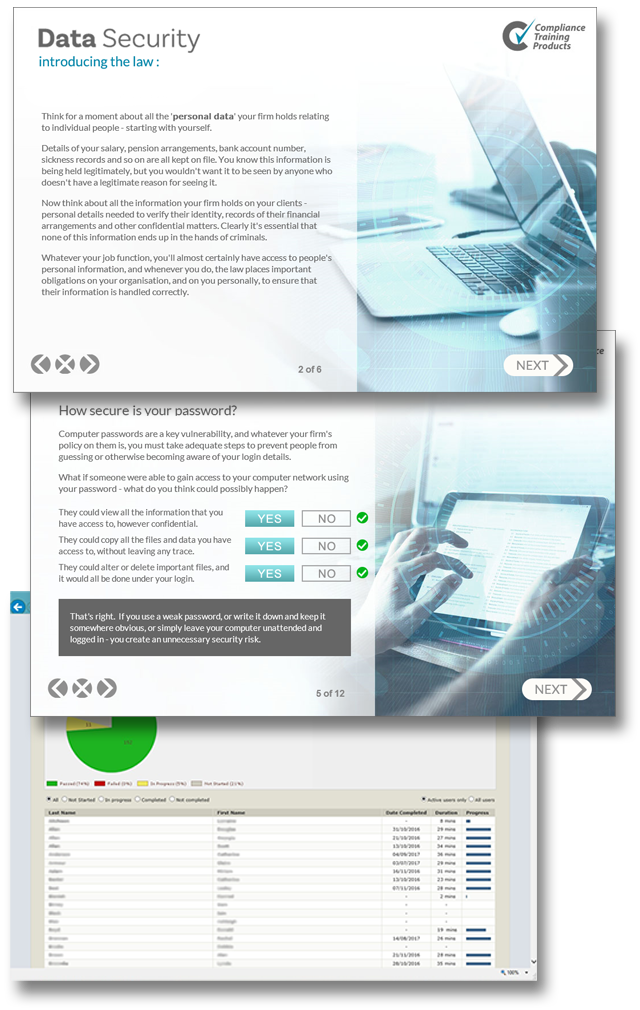 Product image showing data security online training screens