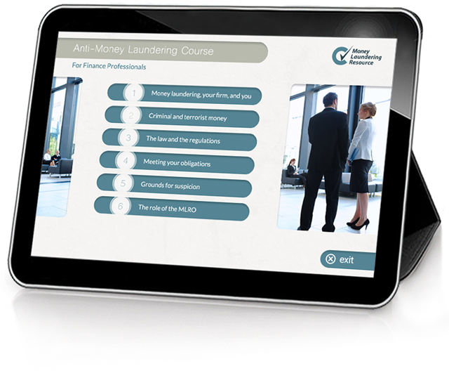 Product image showing anti-money laundering online training screen
