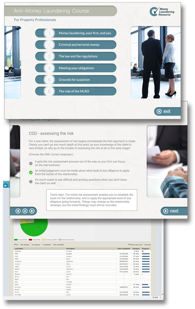 Product image showing anti-money laundering online training screens